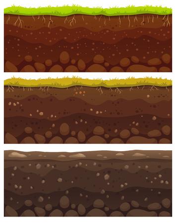 Bezspoinowe warstwy gleby. Warstwowa glina brudu, warstwa gruntu z kamieniami i trawą na brudnej teksturze klifu, pod ziemią zakopaną skałę, archeologia krajobraz kreskówka wektor wzór na białym tle zestaw