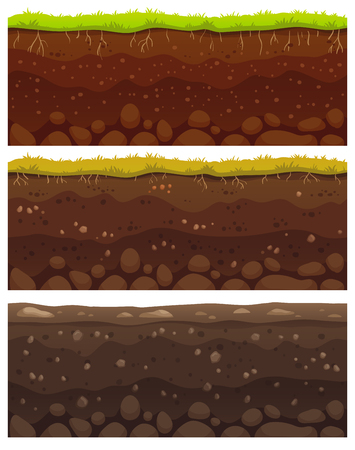Seamless soil layers. Layered dirt clay, ground layer with stones and grass on dirts cliff texture, underground buried rock, archeology landscape cartoon vector pattern isolated set