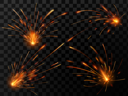 Realistic fire sparks. Spark flow of steel welding or metal cutting work. Electrical explosion sparkles of fiery industrial light or bengal burnt, sparklers glow flame vector isolated symbol set