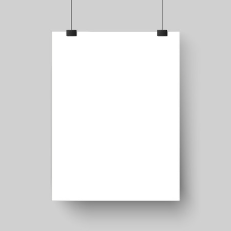Blank white poster template. Affiche, paper sheet hanging on wall. Vector advertising banner mockup stand exhibit, empty picture billboard page for printing