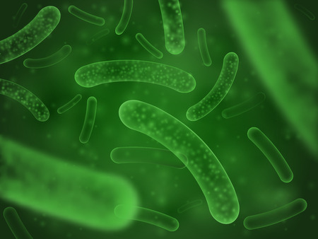 Bacteria biological concept. Micro probiotic lactobacillus green microorganism or ebola microscopic influenza cell, biology micro probiotics hiv virus. Salmonella scientific abstract background Иллюстрация