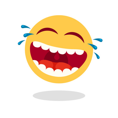 Laughing smiley emoticon. Cartoon happy face with laughing mouth and tears, emoticons cry or tear smile. Loud laugh lol emoji. Sticker yellow vector isolated icon Illustration