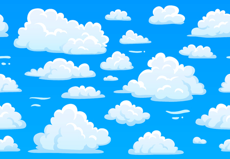 Cartoon blue cloudy sky. Horizontal seamless pattern with white fluffy clouds, cumulus weather atmosphere. 2d game overcast sky. Beautiful bright cloudscape vector texture background Illustration