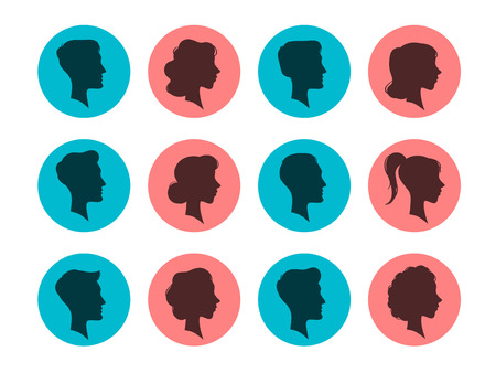 Male and female head silhouettes. Avatars, people face profile portrait heads sign. Person black avatar, anonymous faces vintage portrait. Colorful vector isolated icons set