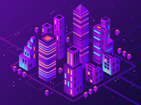 Isometric neon town. Futuristic illuminated city, future megapolis highway illumination electrical construction and night business district building, modern cityscape 3d vector illustration Stock Illustratie