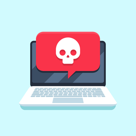 Virus notification on notebook screen. Malware attack laptop pc, computer viruses or piracy fraud hacking secure, trojan virus notification. Internet spam or blackmail threat alert vector concept Illustration