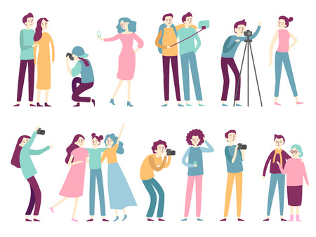 People taking photos. Woman takes selfie pictures, posing for professional photographer and man holding photo camera, modern photograph technology flat isolated icons vector set Standard-Bild - 110800547