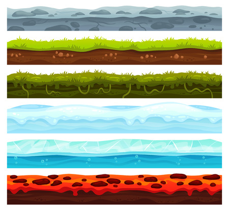 Seamless land layers. Dirt ground landscape game asset, ice with snow caps and lava floor. Cartoon surface grass soil texture, water and dirt rock road for games level vector assets set Фото со стока