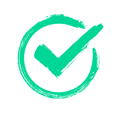 Green grunge check mark. Correct answer, checking vote or choice approval icon, checks brush mark. label Checked circle accept quality stamp vector symbol Фото со стока