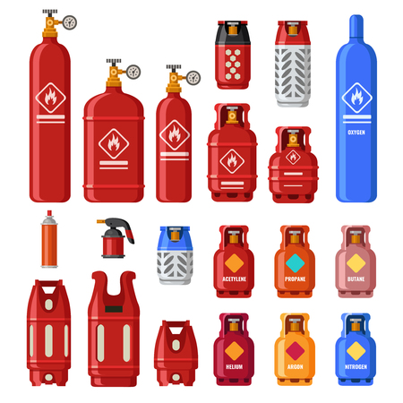 Gas tank. Gaz cylinders with acetylene, propane or butane. Petroleum fuel in safety cylinder. Helium, lpg or fuel oil in metal tank flammable container for stove heating isolated icons vector set