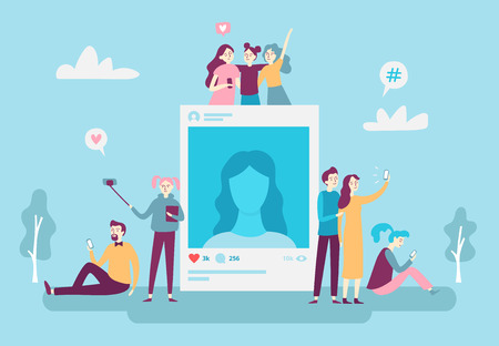 Social network photo post. Youngsters people posting selfie photos on smartphone. Social media bloggers photography account addiction vector networking concept illustration