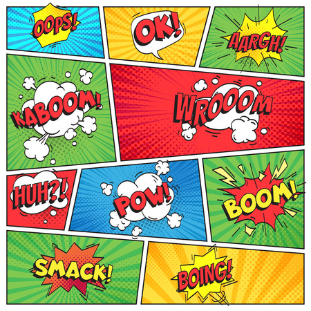 Comics page. Comic book grid frame, funny oops bam smack text burst speech bubbles, bubble pack explosion on color stripes cover retro background colorful vector layout template