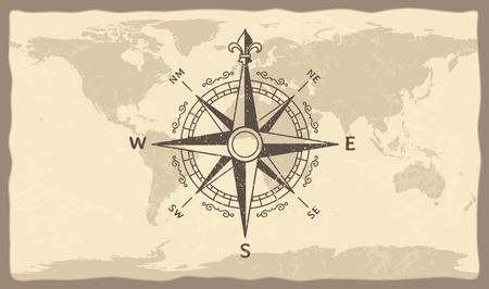 Antique compass on world map. Vintage geographic history maps with old marine compasses arrows, ancient nautical sailing ship journey compass. Navigation vector illustration