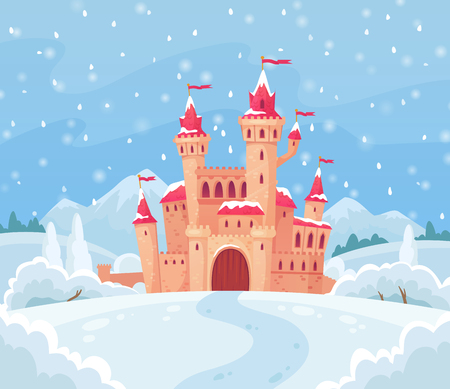 Fairy tales winter castle. Magical snowy landscape with medieval snow castle house, lapland christmas santa elf or ice princess home. Magic palace cartoon vector background illustration