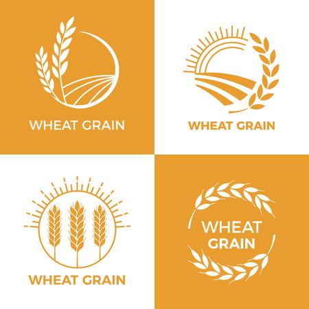 Logo de blé cuit. Étiquette de grain de blé des champs, éléments de cuisson. Logo d'orge de récolte d'insigne de cuisson de nourriture, nourriture de boulangerie de pain de champ de blé de grain récompenses ensemble d'illustration vectorielle vintage