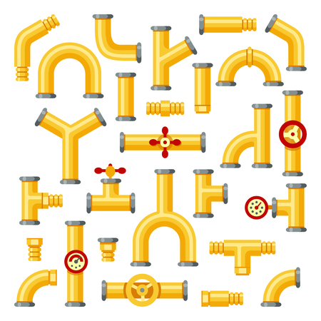 Gas pipeline. Industrial yellow pipes, pipe construction with valves and pipelines underground storage propane fuel tank yellow oil valves system isolated elements vector icons set