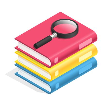 Icona del libro isometrica. Pila di libri, pila di libri di testo. Lettura accademica, glossario del dizionario di saggezza e libri di testo di istruzione scolastica, narrativa o attrezzatura per ufficio di carta simbolo 3d di vettore