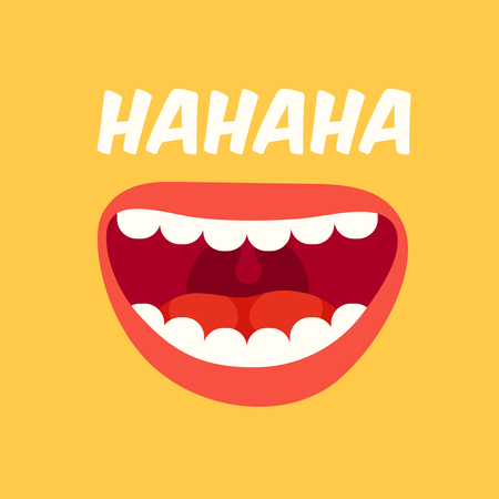 Laughing mouth. April Fools Day. Loud laugh and LOL smile face with teeth out, happy emoji doodle. Joke crazy funny spring prank humor bouche vector yellow background