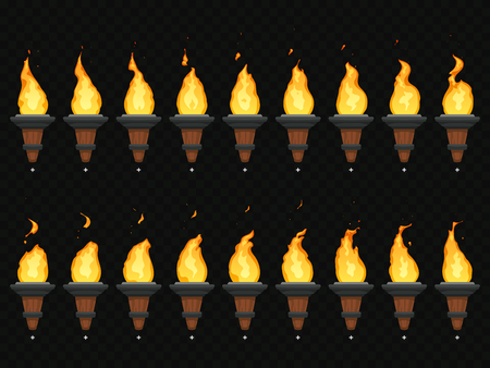 Torch fire animation. Burning cresset, flames on torches and flambeau animated loop sequence for mobile game development or video burn flame loop isolated vector icons set Illustration