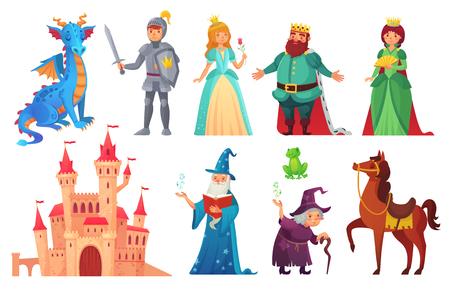 Postacie z bajek. Rycerz fantasy i smok, książę i księżniczka, królowa świata magii i król z magią zamku. Bajkowy zestaw ikon wektorowych kreskówka na białym tle