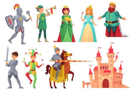 Postacie średniowieczne. Królewski rycerz z lancą na koniu, księżniczka, król królestwa i królowa, historyczna renesansowa rycerskość i szlachta bajka na białym tle zestaw ikon wektorowych
