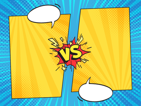 Versus comic frame. Vs comics book clash frames with cartoon text speech bubbles on halftone stripes background vector template. Comic magazine funny poster 免版税图像