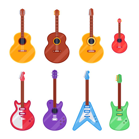 Flat guitar instrument. Ukulele, acoustic classical and rock electric guitars headstock. String classical acoustic music instruments. Musical vintage isolated icons vector cartoon set