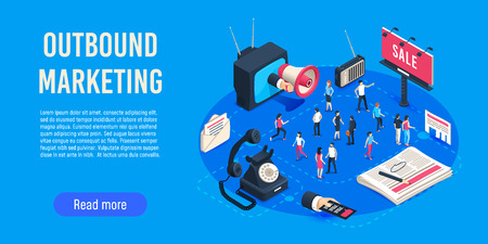 Outbound marketing isometric. Business market sales optimisation, corporate crm and social media ads communication or inbound marketing permission. Digital advertising online campaigns vector concept Stock fotó