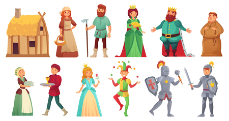 Medieval historical characters. Historic royal court alcazar knights, medieval peasant and king historic costume fairytale ancient aged isolated cartoon vector character icons set 스톡 콘텐츠