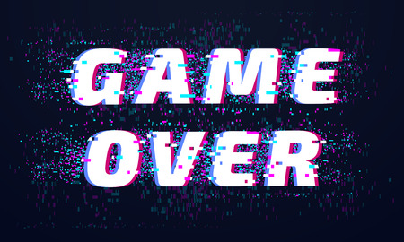Game over. Games screen glitch, computer video gaming phrase and playing final level death screen with distorted text and pixel. Virtual computer play screen fail vector background