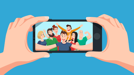 Group selfie on smartphone. Photo portrait of friendly youth team, friends make photos on phone camera or teenage character taking friendship selfies on telephone. Cartoon vector illustration Standard-Bild - 111149998