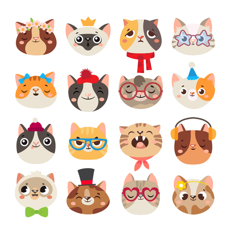Cute cats heads. Cat muzzle, domestic kitty face wearing hat, scarf and color party glasses or child kitten. Animal breeds portrait character pet doodle isolated cartoon vector icons set