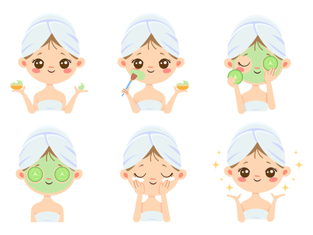 Beauty face mask. Woman skin care, cleaning and face brushing. Acne treatment and sheets masks. Relax cream or scrub masking vector cartoon isolated icons illustration set