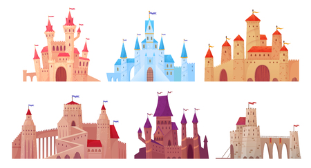 Medieval castle towers. Fairytail mansion exterior, king fortress castles and fortified palace with gate. Old ancient gothic tower fortress or fairy citadel cartoon vector isolated icons set Çizim