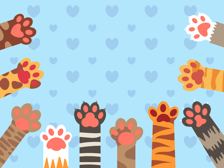 Cat paws. Cute kitten paw, cats claws and funny domestic pets foot. Kittens different up feet, pet kitty fur leg character doodle for fabric. Vector background illustration