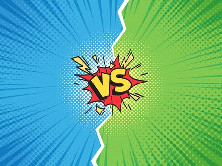 Comic frame VS. Versus duel battle or team challenge confrontation cartoon comics halftone background, superhero championship competition challenge. Retro pop art illustration vector template