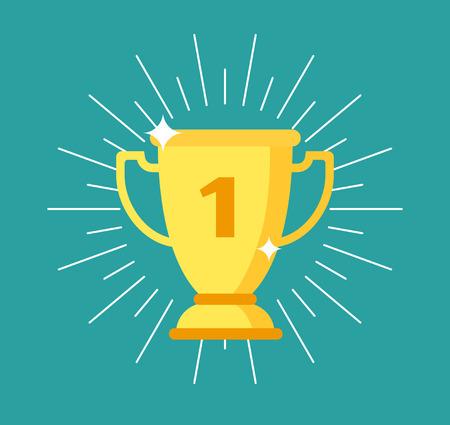 Trophy cup. Gold winning award, sports yellow goblet. Championship, success and leadership business or sport champion golden trophy. Winner prize award in mobile app vector concept Ilustração