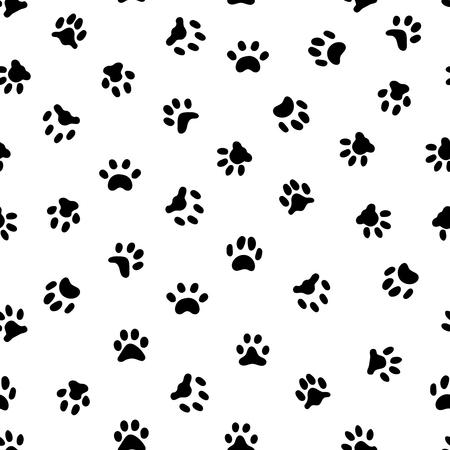 Odcisk łapy kotów. Ślady odcisków łap kota lub psa, ślady zwierząt domowych i ślady odcisków zwierząt. Kotek lub psy stopy czarny ślad kształt wzór, tło wektor Ilustracje wektorowe