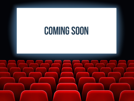 Cinema hall. Movie interior with coming soon text on white screen and empty red seats. Theater concert premiere velvet room with velvet red seats armchair vector background