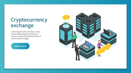 Cryptocurrency exchange landing page. People mining, exchanging crypto platform. Online payment marketplace exchange people financial technology platforms vector isometric concept