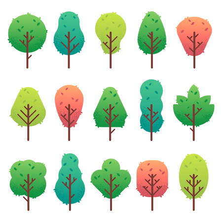 Flat trees set. Garden tree trunk, bush and pine. Nature green landscape, oak symbols for game ui. Plant environment tree silhouette vector isolated illustration icons