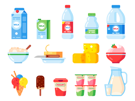 Milk products. Healthy diet yogurt, ice cream and milk cheese. Fresh dairy product, liquid milking food or butter. Farm milky organic isolated vector flat icons collection