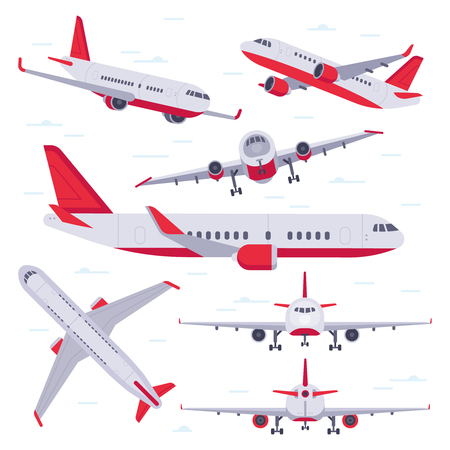 Flat airplane. Aircraft flight travel, aviation wings and landing airplanes, plane front flights in air. Flying planes cargo service isolated vector illustration icons set Illustration