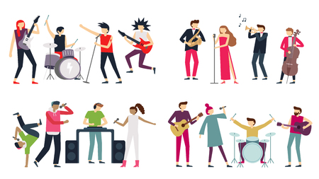 Music band. Jazz blues, punk rock and indie pop bands. Metal guitarist, drummer and rap singer isolated musicians, choir quartet concert. Singing or playing people flat vector icons set Illustration