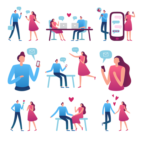Online dating couple. Man and woman romantic meeting, perfect match internet dating chat and blind date service for flirting couples talking. Flirt app vector isolated icons illustration set Ilustrace