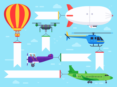 Air vehicles banner. Flying helicopter sign, airplane banner message and vintage zeppelin ad or aviation aircraft advertisement vehicle. Flat vector illustration isolated icons set