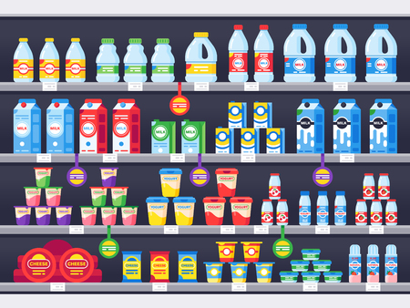Shop shelf with milk products. Dairy grocery store shelves, milk bottle supermarket showcase and cheese product, yogurt. Market milky drinks and food assortment shelf vector illustration