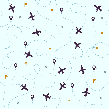 Airplane flights pattern. Plane travel, avia traveling routes and aviation or aircraft travel dotted map. Dot airplane flight sky traveler track vector seamless background