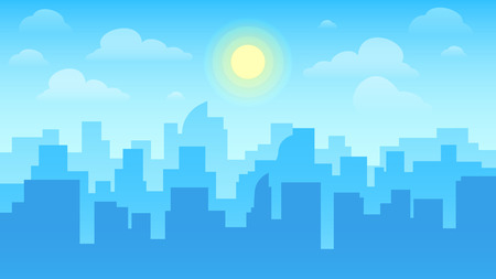 Urban cityscape. City architecture, skyscrapers buildings and town landscape with sun on cloudy sky or business center building. Daytime skyline cityscape flat vector background illustration Illustration