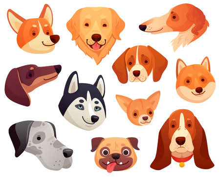 Cartoon dog head. Funny puppy pet muzzle, smiling dog face and pug, retriever husky corgi dogs. Cute playful pets character faces with tongue isolated vector illustration icons collection Ilustração